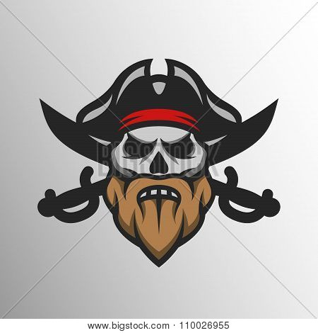 Captain Pirate Skull and crossed sabers.