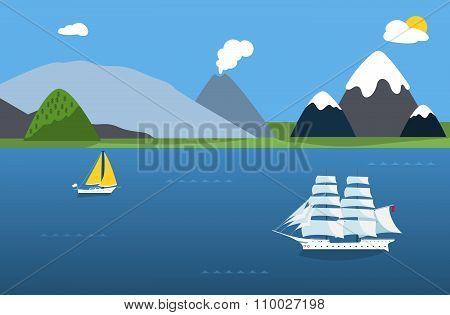 Sailing boats and sea landscape