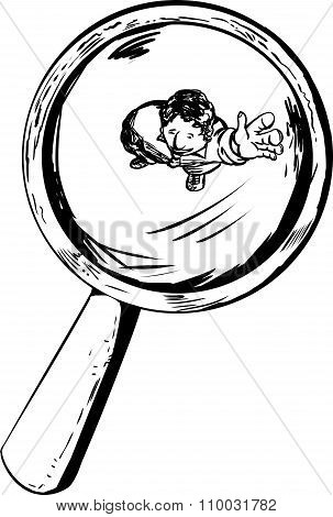 Outline Of Man Waving Under Magnifying Glass