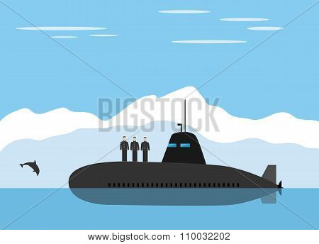 Black submarine and icy landscape