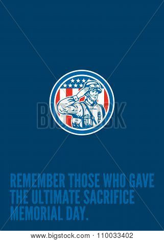 Memorial Day Greeting Card Soldier Military Salute Circle
