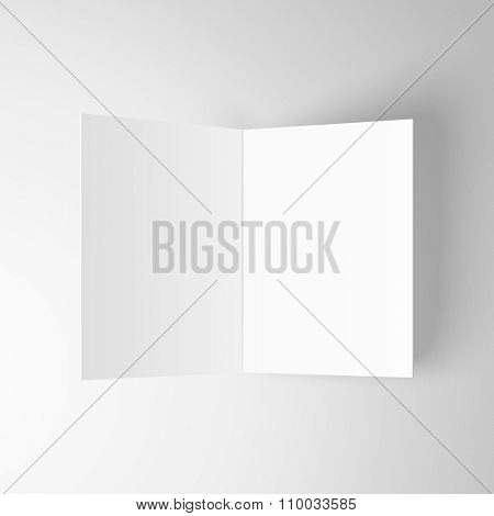 Blank invitation greetings card isolated on white background. Vector template.