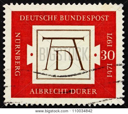 GERMANY - CIRCA 1971: a stamp printed in the Germany shows Durers Signature, 500th anniversary of the birth of Albrecht Durer, painter and engraver, circa 1971