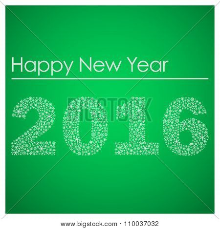 Green Happy New Year 2016 From Little Snowflakes Eps10