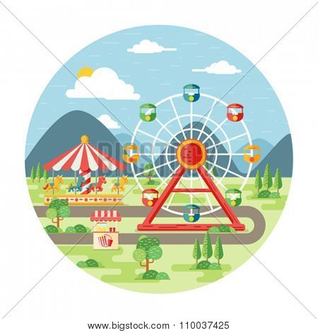 Carnival, amusement park flat illustration