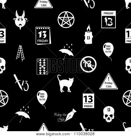 Friday The 13 Bad Luck Day Icons Seamless Pattern Eps10