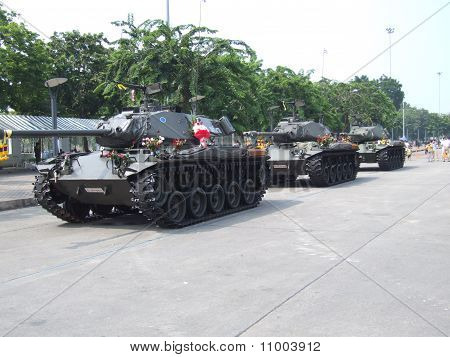 Thai military tanks in Bangkok.