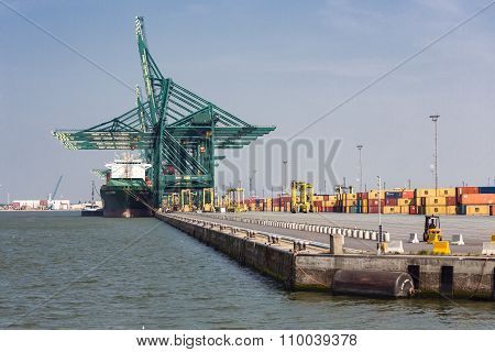 Harbor Of Antwerp With Port Cranes And Big Freight Carriers