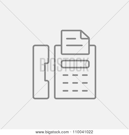 Fax machine line icon for web, mobile and infographics. Vector dark grey icon isolated on light grey background.