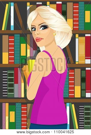 librarian woman in library holding books