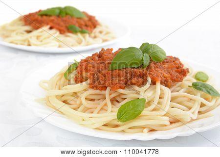Spaghetti Ragu Alla Bolognese Sauce On White,close Up