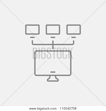 Group of monitors linked in a hierarchical network line icon for web, mobile and infographics. Vector dark grey icon isolated on light grey background.