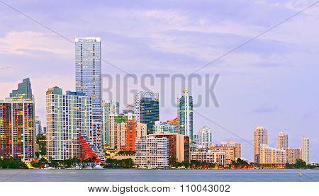 City of Miami Florida night skyline
