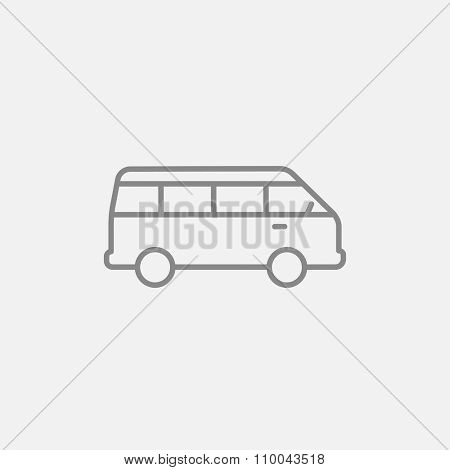 Minibus line icon for web, mobile and infographics. Vector dark grey icon isolated on light grey background.