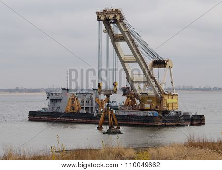 Dredger Ship On The River