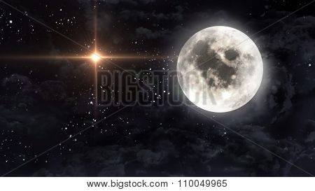 Large Moon With Glow Star Cross