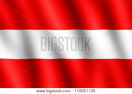 Flag Of Austria Waving In The Wind
