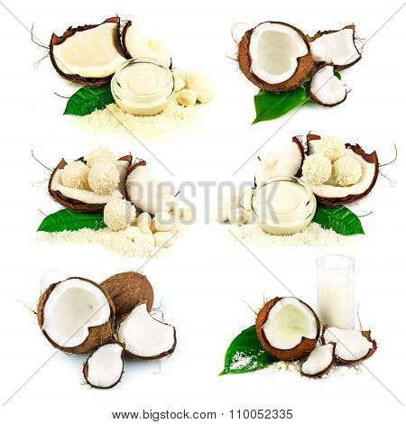 Coconut, Coconut Candy, Cream, Glass Of Coconut Milk, Green Leaf, Set
