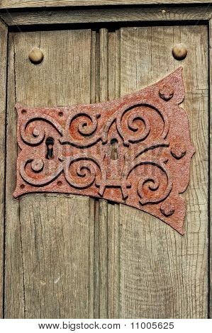 Old Rusty Ornate Metal Keyhole