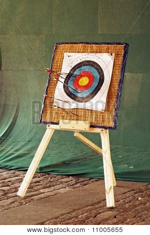 archery target with the arrows