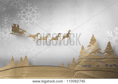 Christmas scene silhouette against snowflake wallpaper over floor boards