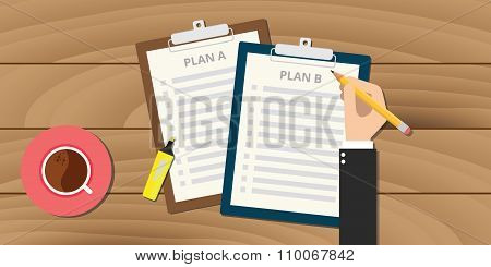 plan a and b illustration with clipboard