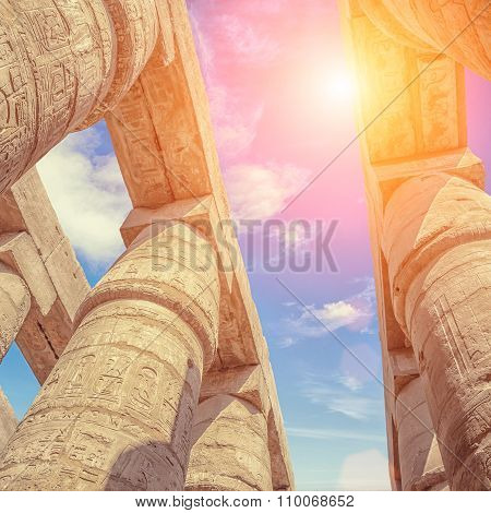 Great Hypostyle Hall And Clouds At The Temples Of Karnak