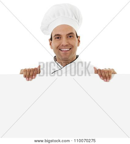 Chef Holding A Blank Sign
