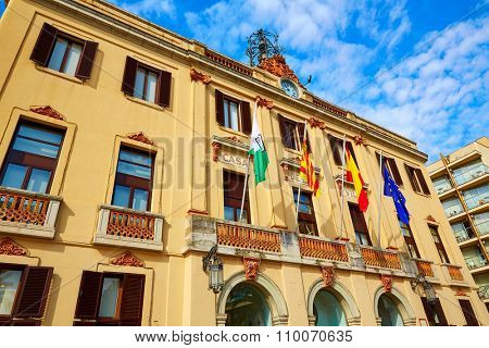 Ayuntamiento Lloret de Mar at Verdaguer passeig promenade City Hall Costa Brava of Catalonia Spain