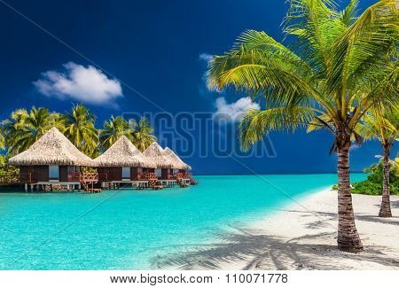Over water bungalows on a tropical island with palm trees and amazing vibrant beach