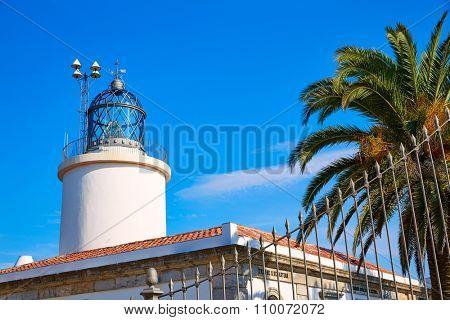 Costa Brava San Sebastian Lighthouse far Girona of Catalonia Spain
