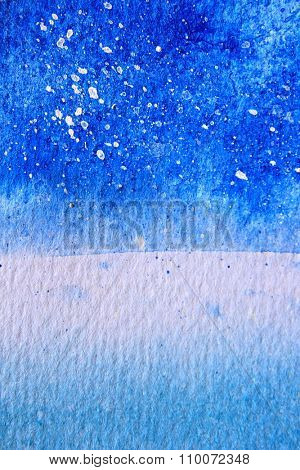 Blue Watercolor with snow background 10