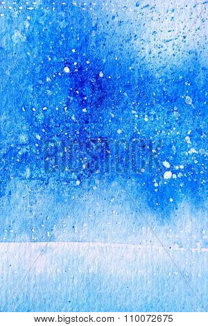 Blue Watercolor with snow background 12