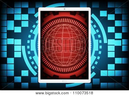 Mobile Phone With The Red Circle Of Ring And Gears Inside On A Blue Gear Ring Technology Background.