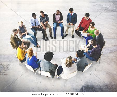 Business Team Meeting Discussion Analysing Concept