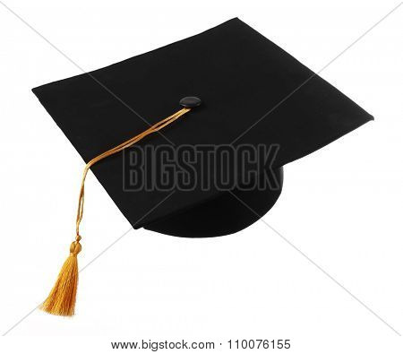 Black student hat, isolated on white