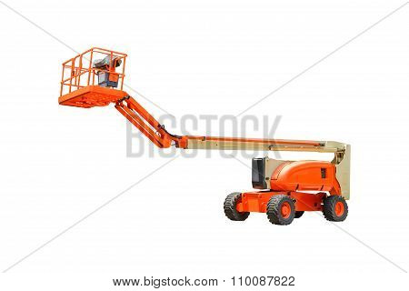 Forklift Truck Shot On White Isolate  Background With Clipping Path.