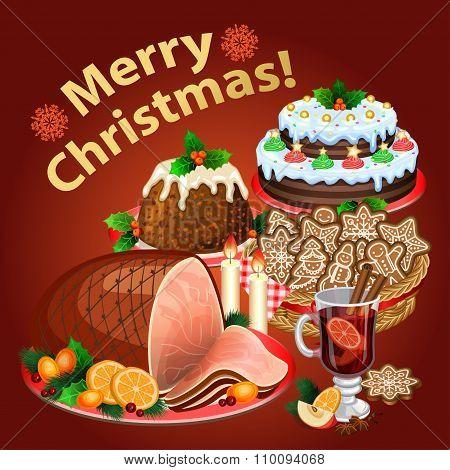 Christmas Dinner, Traditional Christmas Food And Desserts, Christmas Ham, Christmas Pie, Pudding