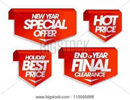 New year special offer, hot price, holiday best price, end of year final clearance, winter sale tags set.