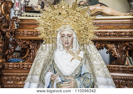 image of the Virgin Mary inside a church Marbella, Andalucia Spain