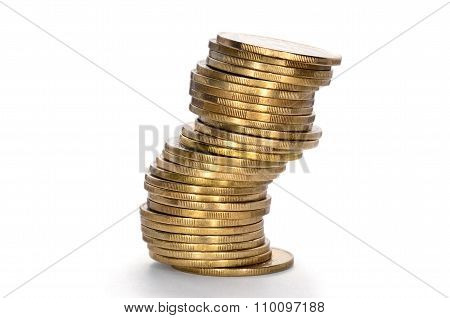 Coins From Yellow Metal Isolated On A White Background