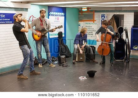 Musicians Busking In The Paris Metro