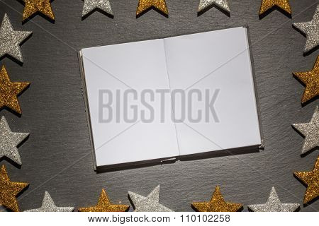 Emtpy Notepad On Slate Background, Christmas Frame