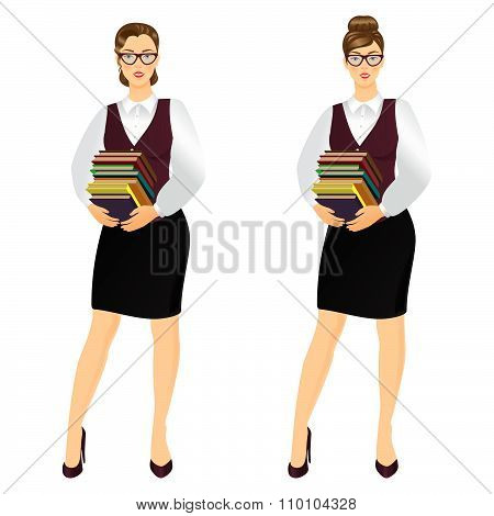 Vector Illustration Of Young  Librarian