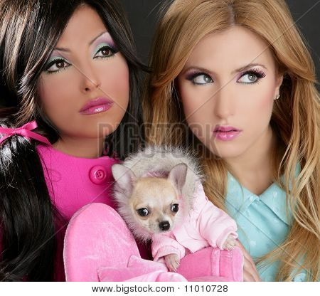 fashion doll barbie women with chihuahua dog pink 1980s style poster