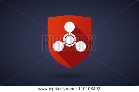Long Shadow Shield Icon With A Chemical Weapon Sign