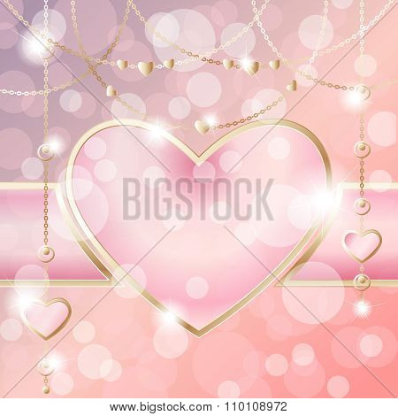 Heart-shaped frame on sparkly peach pink background
