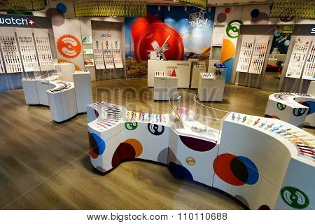 SINGAPORE - NOVEMBER 08, 2015: interior of Swatch store. Swatch SA design, manufacture, distribute and service wristwatches sold under the