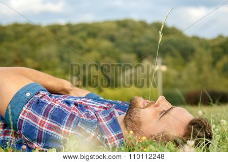 Handsome man lying on the grass