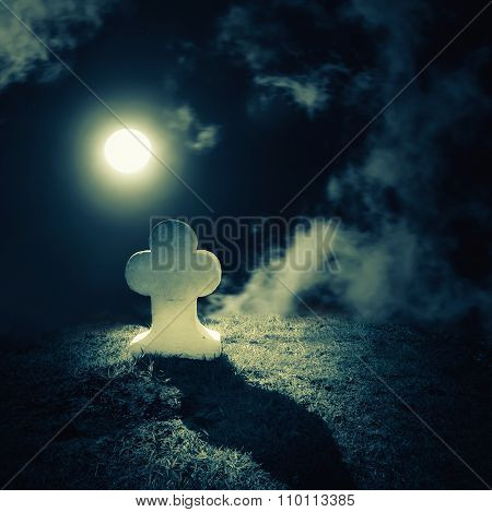 Full Moon Night Landscape With Abandoned Grave On Lonely Planet